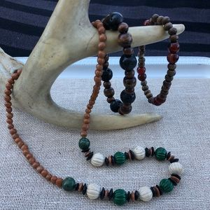 Set of Wooden Bead Necklace and Bracelets